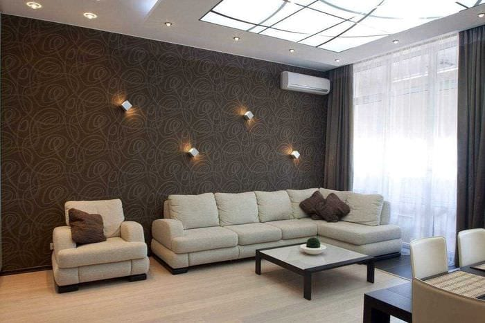 вариант сочетания яркого коричневого цвета в дизайне гостиной