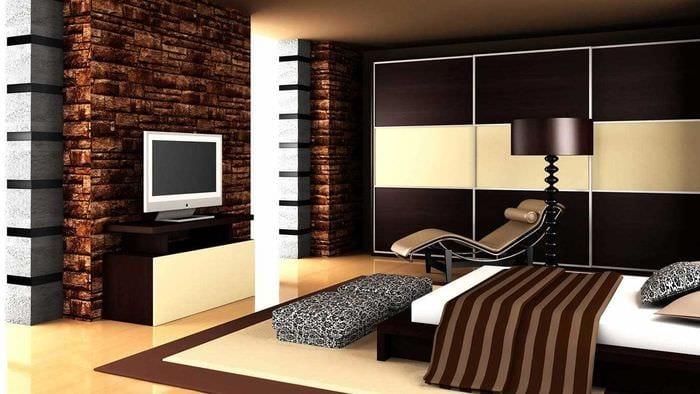 идея сочетания яркого коричневого цвета в дизайне кухни