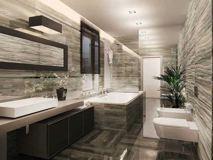 вариант современного стиля ванной комнаты с окном