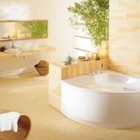 вариант яркого дизайна ванной с угловой ванной картинка
