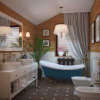 идея современного интерьера ванной в деревянном доме фото