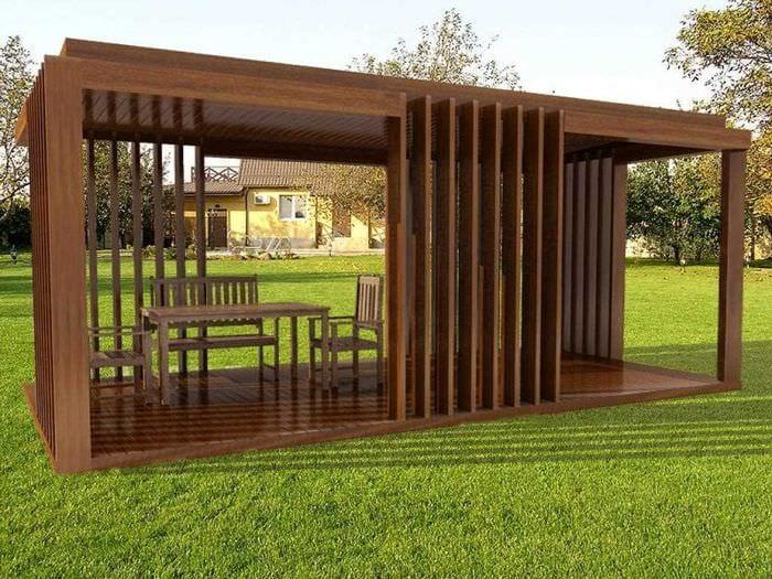 идея необычного интерьера беседки во дворе