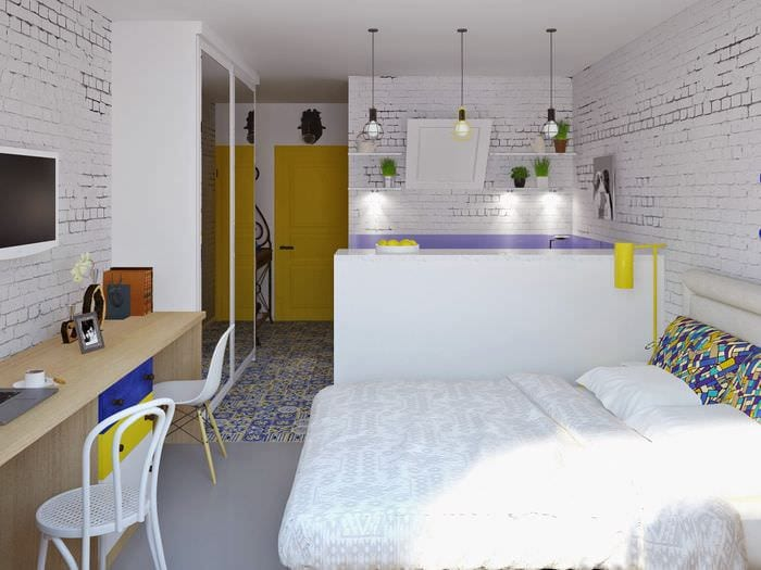 идея красивого интерьера небольшой гостинки
