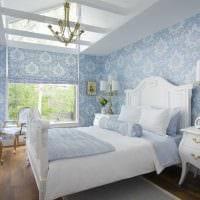 идея яркого стиля спальни в белом цвете фото