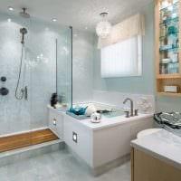 вариант необычного стиля ванной с окном фото