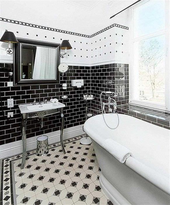 идея красивого дизайна ванной комнаты в черно-белых тонах