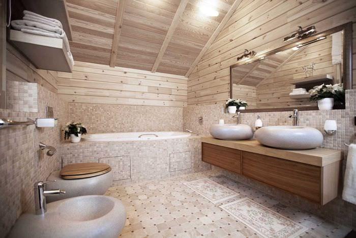 вариант необычного дизайна ванной комнаты в деревянном доме