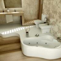 идея красивого дизайна ванной с угловой ванной фото