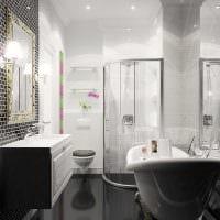 вариант яркого стиля ванной в черно-белых тонах картинка