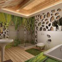 вариант яркого интерьера ванной комнаты в деревянном доме фото