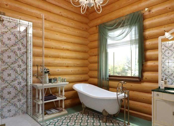 идея яркого интерьера ванной комнаты в деревянном доме