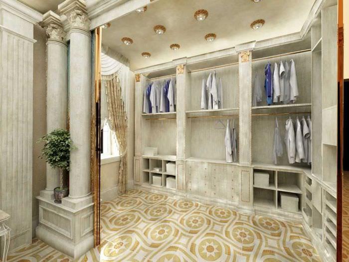 идея современного дизайна гардеробной
