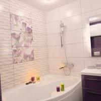 идея необычного дизайна ванной с угловой ванной фото