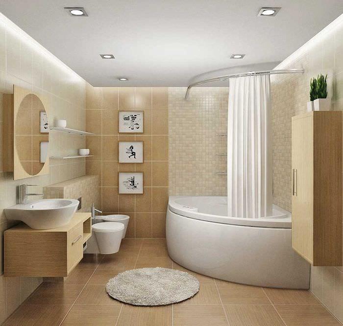 идея необычного стиля ванной комнаты с угловой ванной