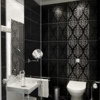 идея необычного стиля ванной комнаты в черно-белых тонах картинка