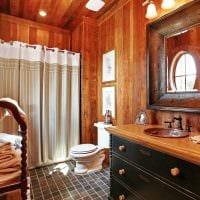 вариант яркого дизайна ванной комнаты в деревянном доме картинка