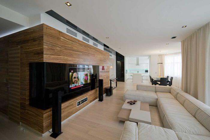пример красивого интерьера гостиной комнаты в стиле минимализм