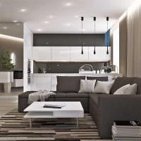 вариант необычного интерьера гостиной комнаты в стиле минимализм фото