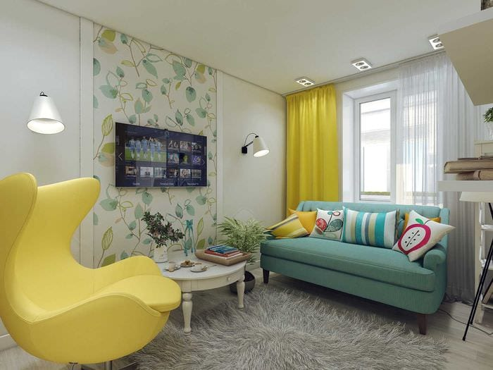 вариант необычного декора современной квартиры 70 кв.м