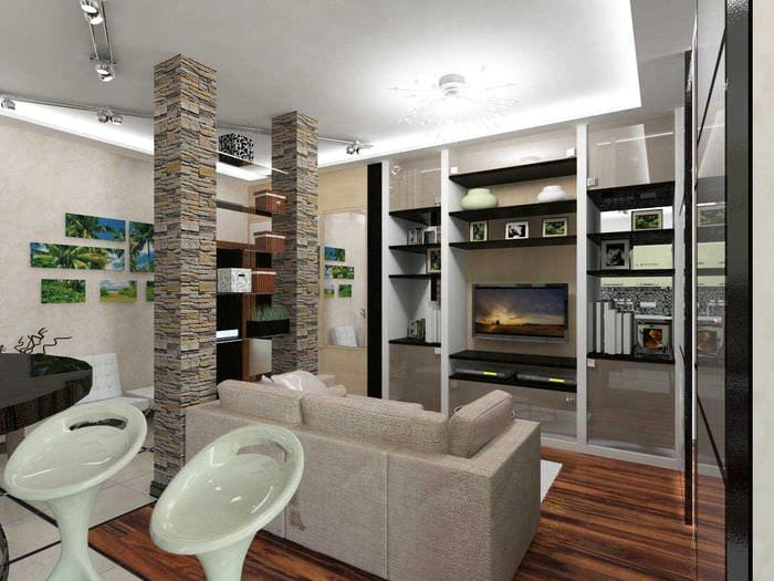 пример яркого декора квартиры 50 кв.м