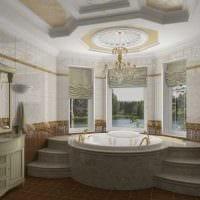 идея необычного интерьера ванной в классическом стиле фото