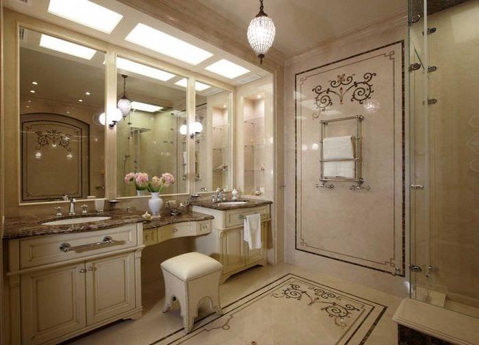 идея красивого стиля ванной в классическом стиле