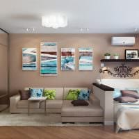 вариант яркого стиля гостиной 16 кв.м фото