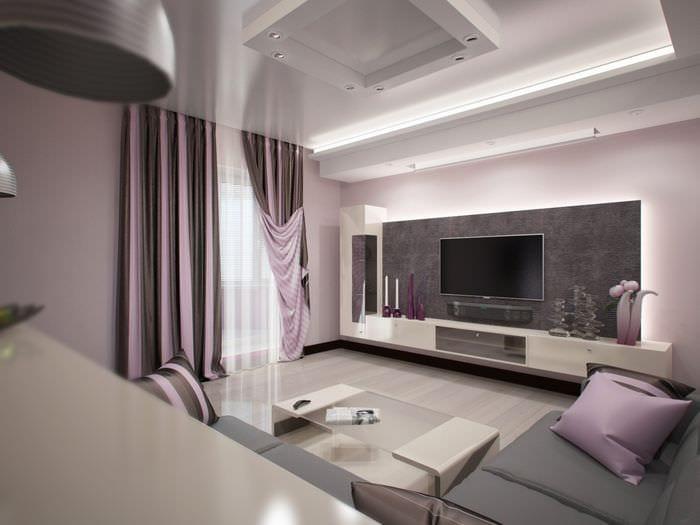 Дизайн зала прямоугольной формы фото небольшой