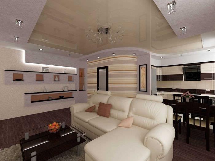 вариант светлого дизайна гостиной 19-20 кв.м
