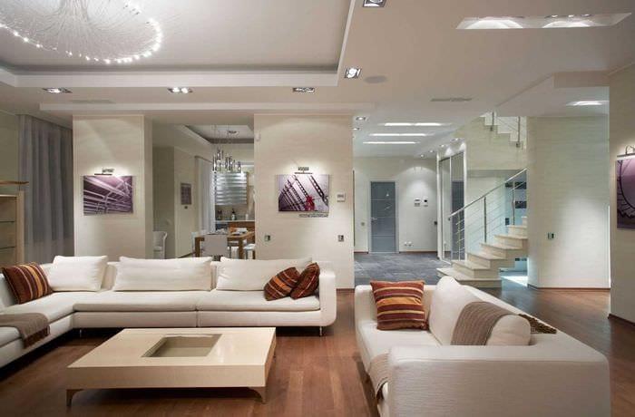 вариант яркого стиля гостиной в современном стиле