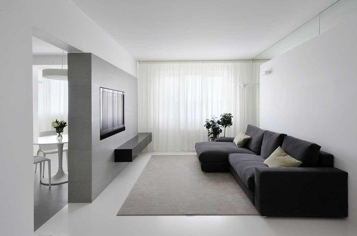 вариант светлого дизайна гостиной комнаты в стиле минимализм