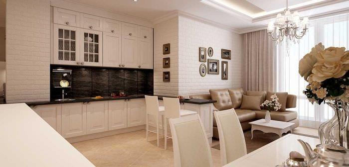 идея необычного интерьера квартиры в светлых тонах в современном стиле