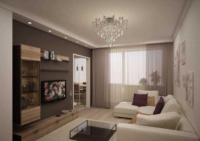 пример яркого дизайна современной квартиры 65 кв.м