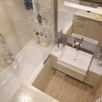 пример необычного интерьера ванной комнаты в бежевом цвете картинка
