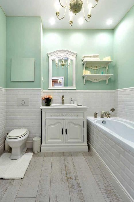 идея необычного декора ванной комнаты в классическом стиле