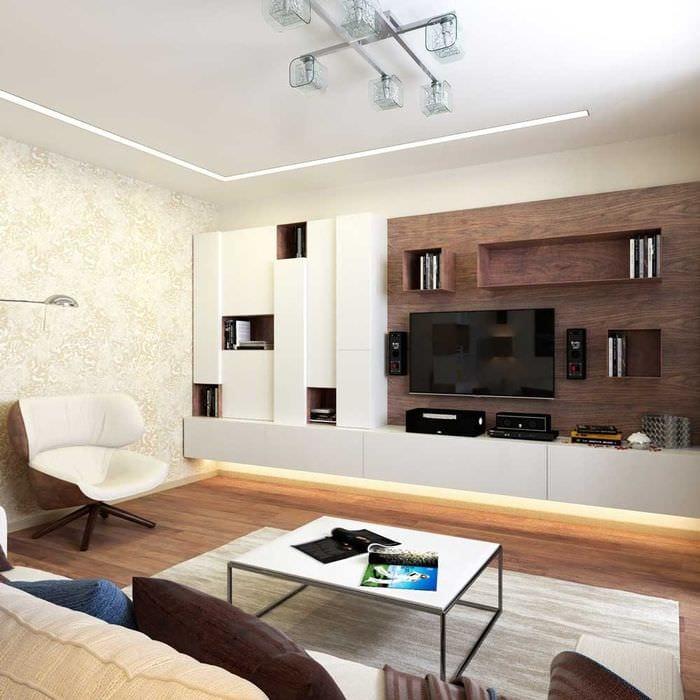 пример светлого дизайна гостиной 16 кв.м