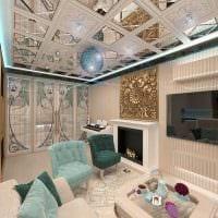 пример красивого декора гостиной комнаты с камином фото