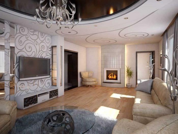 идея необычного декора гостиной в современном стиле