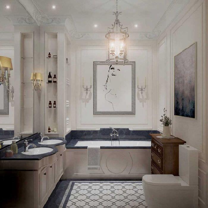 вариант яркого дизайна ванной в классическом стиле