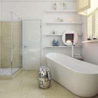 вариант светлого стиля ванной комнаты в бежевом цвете картинка