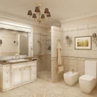 вариант яркого стиля ванной комнаты в бежевом цвете картинка