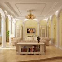 вариант светлого стиля гостиной в частном доме картинка