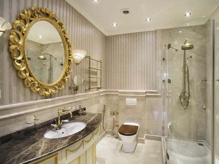 идея красивого интерьера ванной в классическом стиле