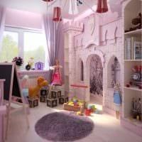 идея красивого дизайна детской для девочки картинка