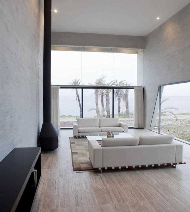 пример красивого декора гостиной в стиле минимализм