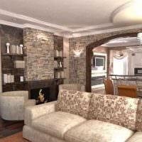 вариант светлого дизайна гостиной в частном доме фото