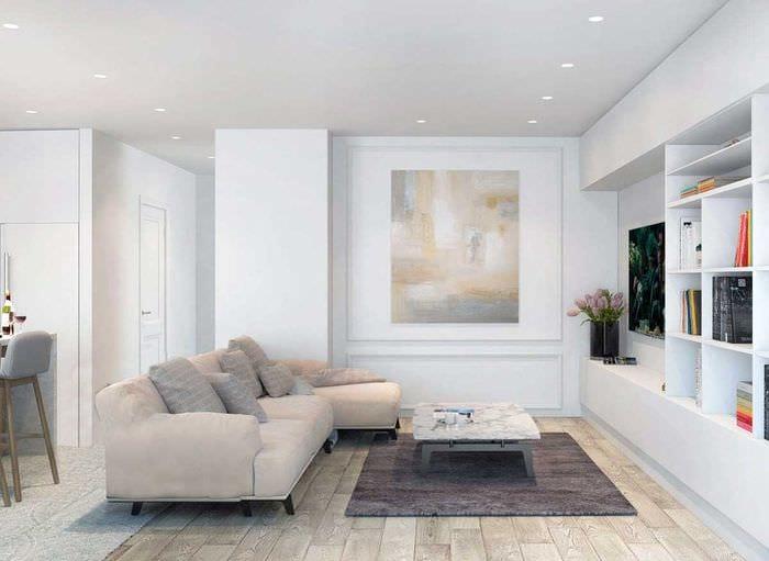 идея светлого интерьера квартиры в светлых тонах в современном стиле