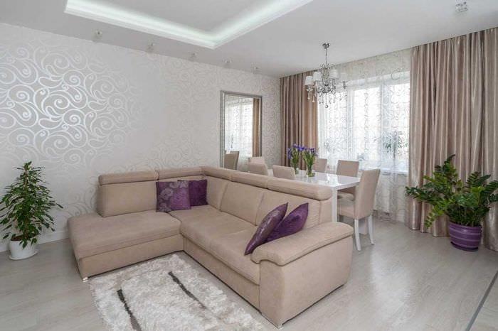 вариант светлого дизайна комнаты в светлых тонах в современном стиле