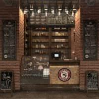 вариант яркого интерьера кафе в стиле лофт фото
