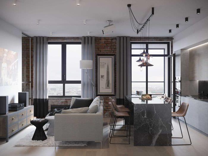 вариант светлого интерьера квартиры 70 кв.м